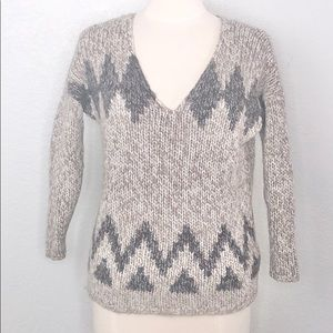 Madewell Wallace Gray Print Knit V Neck Sweater XS